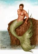 Mermaid Drawings - Merman On The Rocks by Bruce Lennon