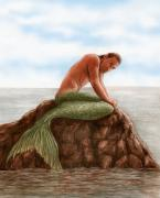 Mermaid Drawings - Merman Resting by Bruce Lennon