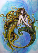 Magical Mixed Media Metal Prints - Merr Metal Print by Caroline Czelatko