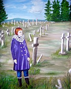 Headstones Paintings - Merrit graveyard by Ida Eriksen