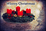 Candlelight Mixed Media - Merry Christmas by Angela Doelling AD DESIGN Photo and PhotoArt