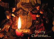 Candle Lit Prints - Merry Christmas angels Print by George Tuffy