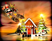 Retro Mixed Media Prints - Merry Christmas  Boxing Day Rocket Sliegh Ride Print by Bob Orsillo