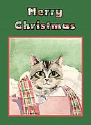 Christmas Cards Art - Merry Christmas Cat by Arline Wagner