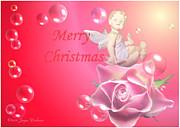Joyce Dickens - Merry Christmas Cherub and Rose
