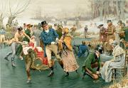 Skaters Prints - Merry Christmas Print by Frank Dadd