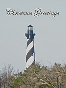 Christmas Holiday Scenery Art - Merry Christmas Greeting Card - Cape Hatteras Lighthouse by Mother Nature