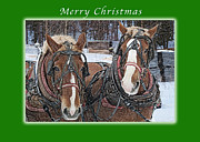Sawmill Prints - Merry Christmas Horses at Sawmill Print by Michael Peychich
