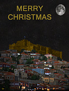 Ellenisworkshop Prints - Merry Christmas Molyvos Print by Eric Kempson