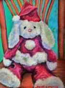 Santa Hat Drawings Prints - Merry Christmas Rabbit Print by Emily Michaud