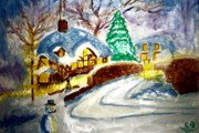 Christmas Eve Painting Posters - Merry Christmas Poster by Stanley Morganstein