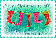 Christmas Cards Art - Merry Christmas to All by Cathie Tyler