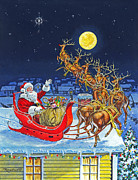 Santa Reindeer Posters - Merry Christmas To All Poster by Richard De Wolfe