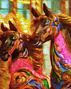 Warhol Posters - Merry Go Around Horses - Painterly Poster by Wingsdomain Art and Photography