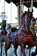 Gray Horses Photos - Merry Go Round at the Fair by Angel Chovanec