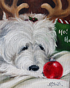 Westie Puppies Posters - Merry Ho Ho Poster by Mary Sparrow Smith