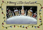 Primitive Painting Framed Prints - Merry Little Christmas Hill Framed Print by Catherine Holman