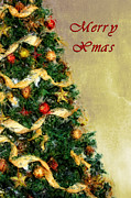 Christmas Star Mixed Media Posters - Merry Xmas Poster by Angela Doelling AD DESIGN Photo and PhotoArt