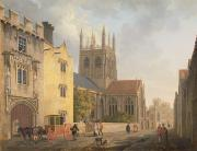 Village Scenes Posters - Merton College - Oxford Poster by Michael Rooker