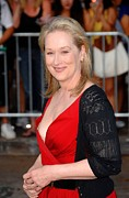 Red Dress Posters - Meryl Streep At Arrivals For Julie & Poster by Everett