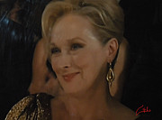 Colette Framed Prints - Meryl Streep receiving the Oscar as Margaret Thatcher  Framed Print by Colette V Hera  Guggenheim