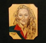 Famous People Pyrography - Meryl Streep by Tracy Partridge-Johnson