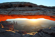 Mesa Arch Posters - Mesa Arch at sunrise in Canyonlands National Park Poster by Pierre Leclerc