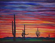 Matta Paintings - Mesa Sunset by Gretchen Matta