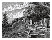 New Mexico Drawings Prints - Mesa Verde Cliff Dwellings Print by Jack Pumphrey