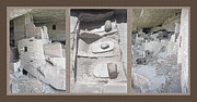Brick Buildings Mixed Media Prints - Mesa Verde Triptych Print by Steve Ohlsen