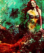 Mermaid Artwork On Canvas Framed Prints - Mesmerizing Mermaid Framed Print by Ankeeta Bansal