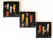 Contemporary Paintings - Message from the Future - Set of 3 by Marianna Mills