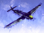 Airplane Digital Art Prints - Messerschmitt Bf 109 Print by Michael Tompsett