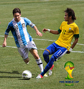 National League Prints - Messi and Neymar Clash of the Titans World Cup 2014 Print by Lee Dos Santos