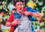 Soccer Drawings Originals - Messi by Janine Hoffman