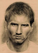 Soccer Drawings Prints - Messi Print by Martin Velebil