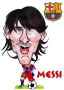 Barcelona Drawings Posters - Messi Poster by Tom Glover