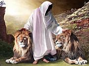 Lions Mixed Media Prints - Messiah Israel and Judah Print by Bill Stephens