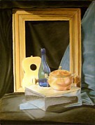 Drapery Pastels Prints - Metal Box With Other Objects Print by Howard Bosler