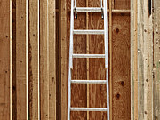 Leaning Building Prints - Metal Extension Ladder Print by Skip Nall