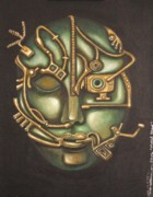 Steam Punk Painting Posters - Metal Head Poster by Leah Saulnier The Painting Maniac