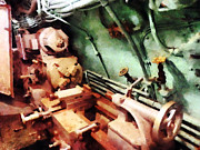 Shop Prints - Metal Lathe in Submarine Print by Susan Savad