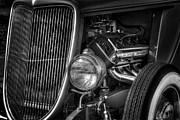 Monochrome Hot Rod Framed Prints - Metal Man Art Framed Print by John Herzog