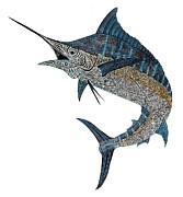 Blue Marlin Paintings - Metal Marlin Tribal by Carol Lynne