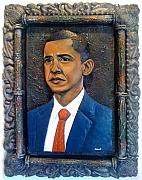 Portrait Sculptures - Metal Sculpture of President Barack Obama by Jean Dukens Boivert