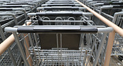 Pushcart Posters - Metal Shopping Carts In A Row Poster by Brian Akamine