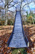 Slide Photo Prints - Metal Slide in Childrens Playground Print by Jill Battaglia