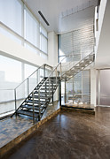 Flooring Prints - Metal Stairs Leading to Second Floor Print by Andersen Ross