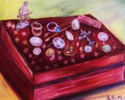 Old Relics Pastels Prints - Metal Treasures Print by Emily Michaud
