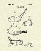 Sports Drawings Prints - Metallic Golf Club Head 1926 Patent Art Print by Prior Art Design